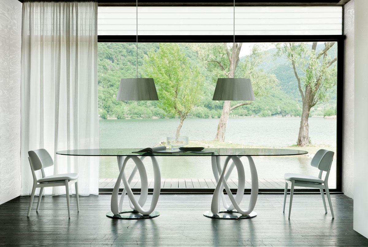 Tavolo ovale in vetro tavolo ovale vetro e legno tavolini - Tavoli pranzo allungabili design ...